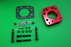Red Throttle Body Spacer Fit 92 00 Honda Civic 1 5l 1 6l Sohc With Power Port