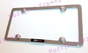Audi Quattro 3d Emblem 4 Hole Stainless Steel License Plate Frame Rust Free