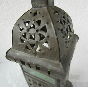 Antique Punched Tin Candle Lantern With Glass Primitive