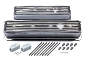 Mr Gasket Sbc Cast Alm Valve Cover Set Finned Style Pol P n 6856g