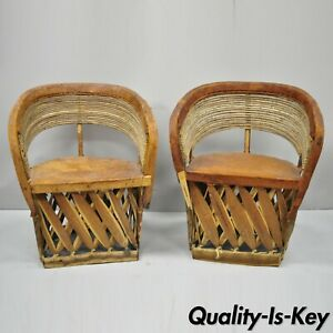 Pair Of Vintage Mexican Equipable Brown Leather Branch Wood Barrel Club Chairs
