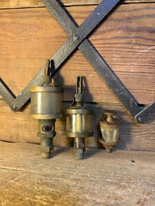 3 Essex Brass Hit Miss Engine Oilers Steam 601 Glass Parts Old Lubrications