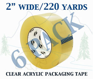 6 Pack Carton Sealing Clear Packing Shipping Box Tape 1 75 Mil 2 X 220 Yards