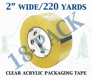 18 Pack Carton Sealing Clear Packing Shipping Box Tape 1 75 Mil 2 X 220 Yards