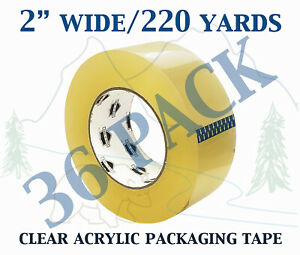 36 Pack Carton Sealing Clear Packing Shipping Box Tape 1 75 Mil 2 X 220 Yards