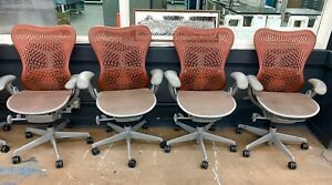 Lot Of 4 Herman Miller Mirra Chair Terracotta Color All Functions Work