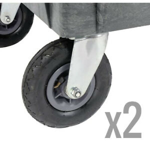 2 Pack Swivel Replacement 8 Caster Kit For Plastic Service Carts Pneumatic