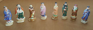 Vintage Set Of Eight Chinese Porcelain Ceramic Figurines 8 Immortal Gods 2 5