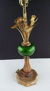 Vtg Gold Gilt Tole Floral Table Lamp Green Ball Antique Italian 21 To Top Socket