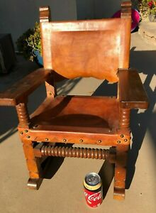 Antique Child S Spanish Mexican Leather Brass Riveted Rocking Chair