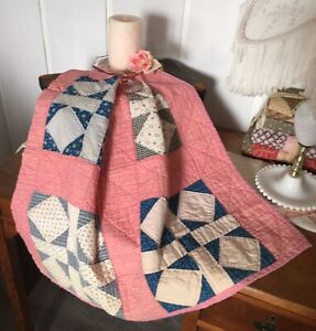 Antique Vintage Old Cinnamon Indigo Red Early Prints Patchwork Quilt Piece 6