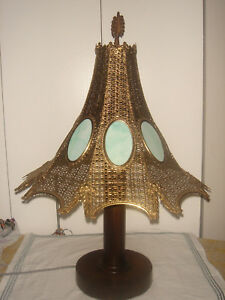 Arts Crafts Wood Base W Pierced Brass Stained Glass Table Lamp Stickley Era