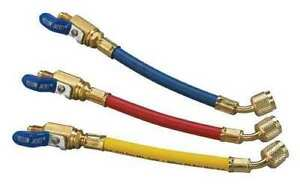 Yellow Jacket 25980 9 Flexflow Adapter Hoses 3 pak With Compact Ball Valves