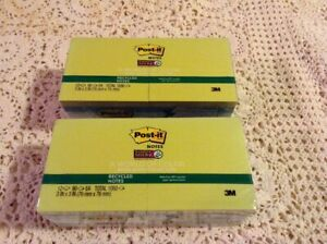 Lot Of 2 12 Pad Post it Notes Super Sticky Recycled Notes Bora Bora Colors