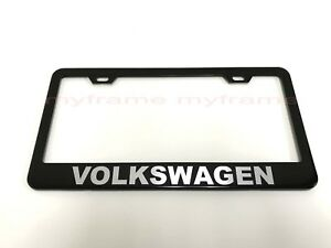 Volkswagen Black Metal License Plate Frame Tag Holder With Caps