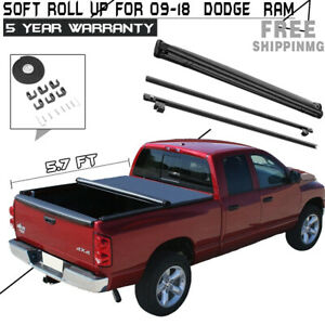 2019 Roll Up Tonneau Cover For 2009 2018 Dodge Ram 1500 Crew Cab 5 7ft Short Bed