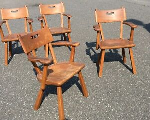 Four Vintage Cushman Chairs Colonial 424a Paddle Arm Chairs Craftsman Lodge