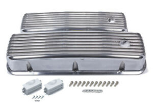 Mr Gasket Bbc Cast Alm Valve Cover Set Finned Style Pol P n 6859g