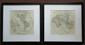 The World In Two Hemispheres C1850 2 Separately Framed Maps