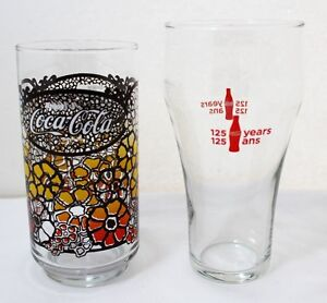 Vintage Coca Cola 125 Years Glass And Coca Cola Floral 1970s