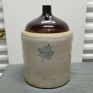 Western Stoneware Co Number 5 Gallon Jug Crock Maple Leaf Logo Blue Stamp