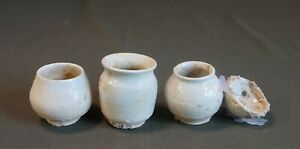 Rare Korean Joseon Dynasty 15 17th Century White Slip Coated 2 Cups