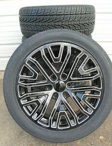22 Ram 1500 6 Lug Black Milled New Set Of Wheels And 2854522 Tires 5906 B