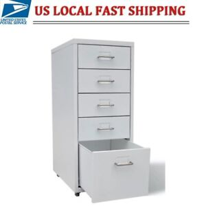 5 drawer Rolling Filing Cabinet File Storage Organizer Home Office Gray 11 x 27