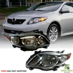 Fits For Toyota Corolla 2009 2010 Front Pair Headlights Focos Black Lh Rh
