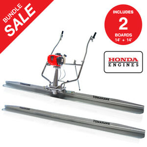 Two 14ft Blades 1 8hp Honda Vibrating Concrete Power Screed Float Finishing Tool