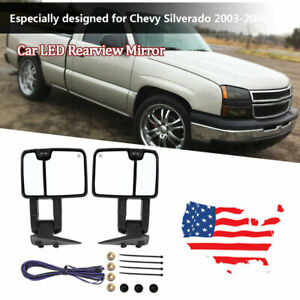 1 Pair Car Power Heated Led Rearview Towing Mirror For Chevy Silverado 2003 2006