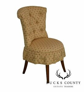 Hickory Chair Co Custom Upholstered Gold Red Tufted Vanity Chair