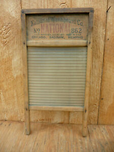 Vintage National No 862 Laundry Washboard Glass Wood 24 X12 5