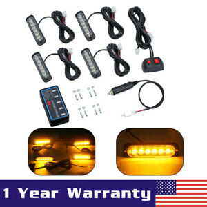 4x 6 Led Amber Flashing Light Bar Car Truck Hazard Recovery Strobe Lamp Kit 12w