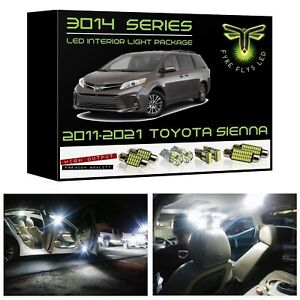 White Led Interior Lights Kit Package For 2016 2019 Toyota Sienna 3014 Smd tool