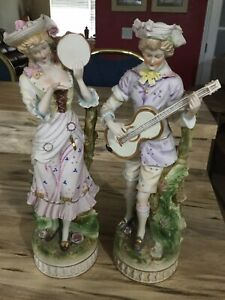 Porcelain Bisque Lrg 15 5 Country Pair Vintage Victorian Figurines