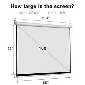 100 16 9 Portable Foldable Projector Screen Rear Front Projection Home Theater