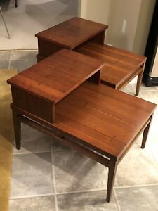 Vtg Pair Lane Mid Century Modern Tuxedo Walnut Rosewood Bowtie Inlay End Tables