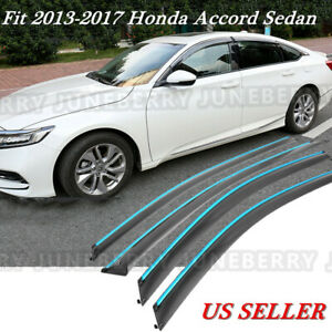 Polycarbonate Chrome Trim Window Visors Fit 2013 2017 Honda Accord Sedan X4