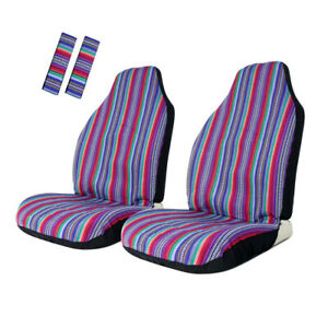 4pc Baja Front Seat Cover Purple Stripe Colorful Seat Protector Universal Fit