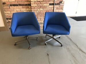 Vintage Mid Century Modern Knoll Blue Office Lounge Chairs Eames Era Chair Lot