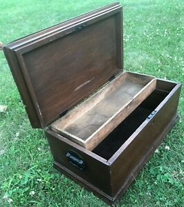 Antique Solid Wood Hand Made Carpenters Tool Chest Trunk W Tray Refinished
