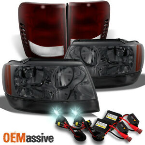 Fit 99 04 Jeep Grand Cherokee Smoked Headlights Dark Red Tail Lights 8k Hid