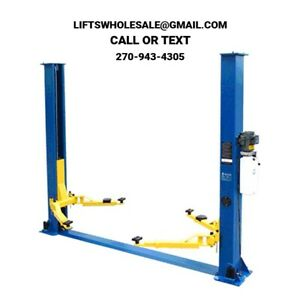 New 9 000 Lbs 2 post Auto Lift Floor Plate Model Symmetric Arms 220v