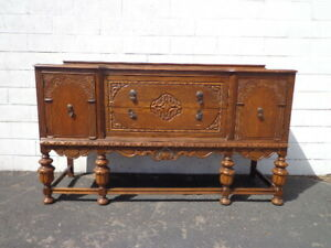 Antique Buffet Cabinet Shabby Chic Primitive Sideboard Wood Tv Media Console