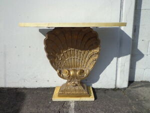 Grosfeld House Console Table On Gilded Shell Base Demilune Corbel Vintage Entry