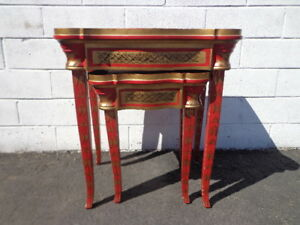 2 Nesting Tables Red Traditional Asian Country French Accent Side End Stacking