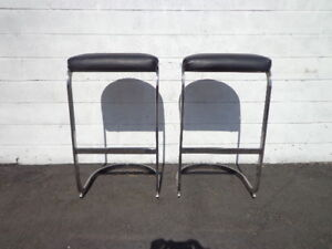Set Of 2 Bar Stools Chrome Black Milo Baughman Mid Century Modern Seating Dining