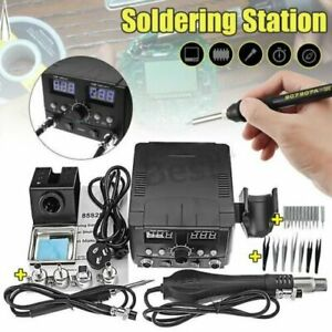 2 In1 Smd Hot Air Rework Station Soldering Iron 11 Tips 4 Nozzles 7 Tweezers Mx