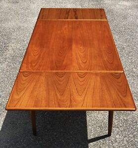 Danish Modern Teak Draw Leaf Dining Table Mid Century Denmark